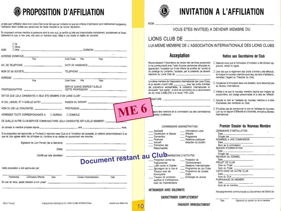 Formation Secrétaires District Centre-Sud Février 2009 10 ME 6 Document restant au Club