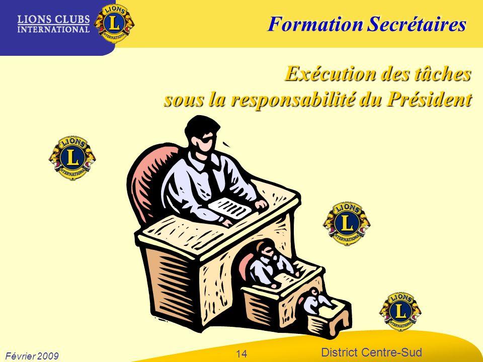 Formation Secrétaires District Centre-Sud Février 2009 14 Exécution des tâches sous la responsabilité du Président