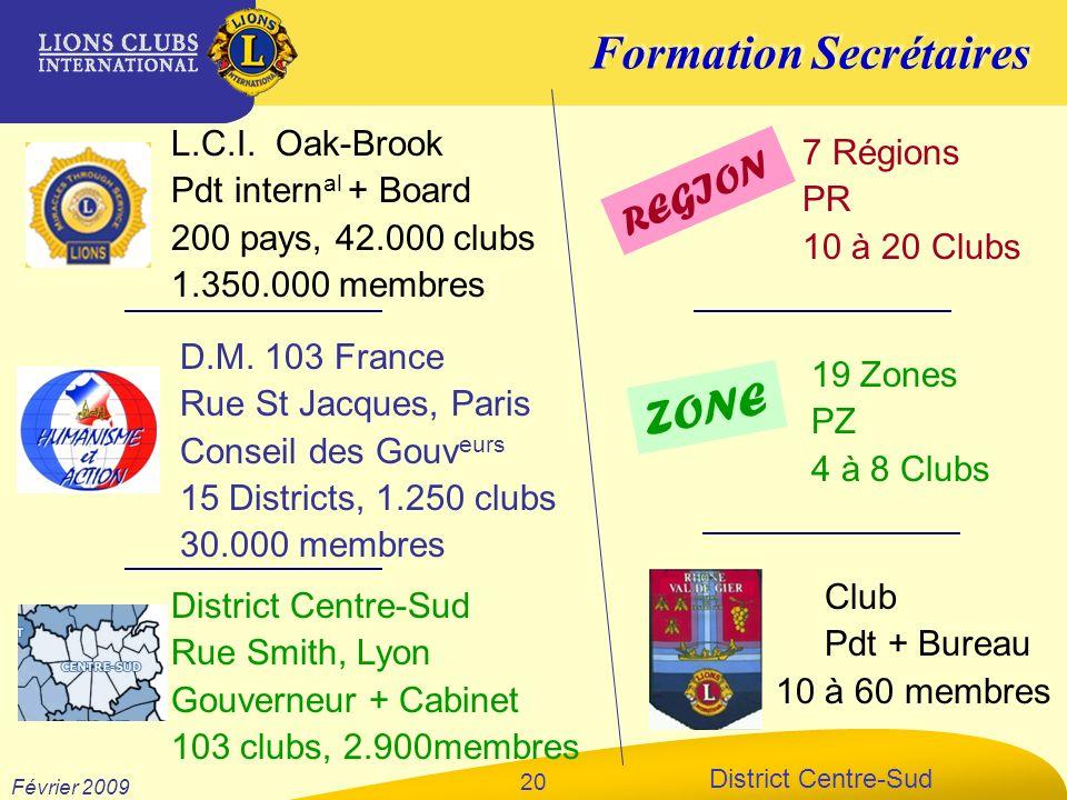 Formation Secrétaires District Centre-Sud Février 2009 20 L.C.I. Oak-Brook Pdt intern al + Board 200 pays, 42.000 clubs 1.350.000 membres D.M. 103 Fra
