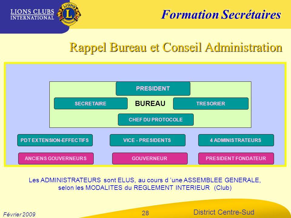 Formation Secrétaires District Centre-Sud Février 2009 28 Rappel Bureau et Conseil Administration PRESIDENT VICE - PRESIDENTS GOUVERNEURANCIENS GOUVER