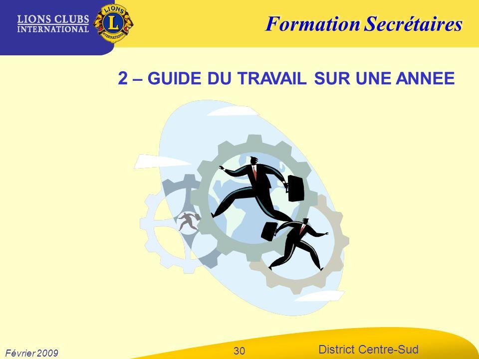 Formation Secrétaires District Centre-Sud Février 2009 30 2 – GUIDE DU TRAVAIL SUR UNE ANNEE