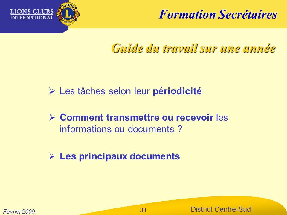 Formation Secrétaires District Centre-Sud Février 2009 31 Les tâches selon leur périodicité Guide du travail sur une année Comment transmettre ou rece