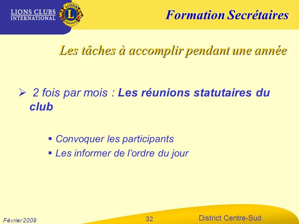 Formation Secrétaires District Centre-Sud Février 2009 32 2 fois par mois : Les réunions statutaires du club Convoquer les participants Les informer d