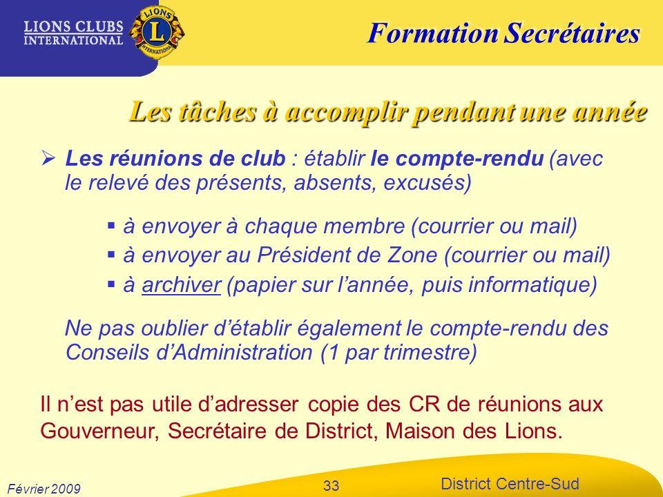 Formation Secrétaires District Centre-Sud Février 2009 33 Les réunions de club : établir le compte-rendu (avec le relevé des présents, absents, excusé
