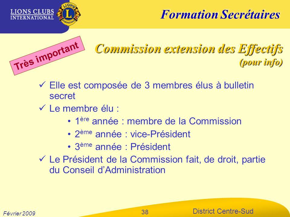 Formation Secrétaires District Centre-Sud Février 2009 38 Elle est composée de 3 membres élus à bulletin secret Le membre élu : 1 ère année : membre d