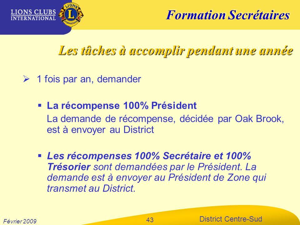 Formation Secrétaires District Centre-Sud Février 2009 43 1 fois par an, demander La récompense 100% Président La demande de récompense, décidée par O