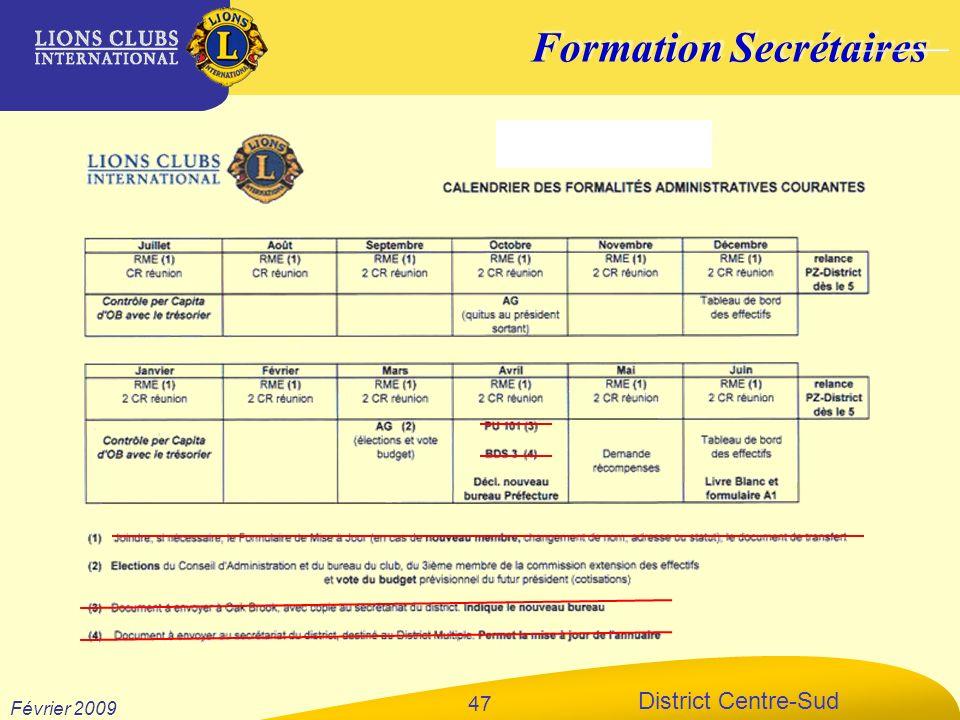 Formation Secrétaires District Centre-Sud Février 2009 47