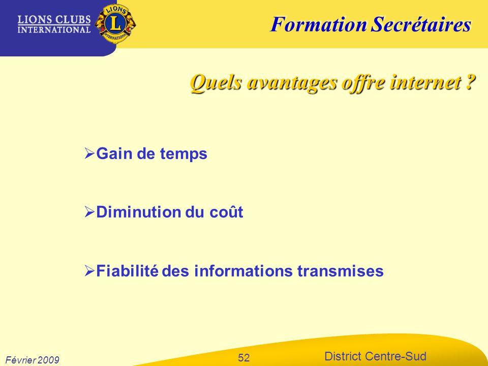 Formation Secrétaires District Centre-Sud Février 2009 52 Gain de temps Diminution du coût Fiabilité des informations transmises Quels avantages offre