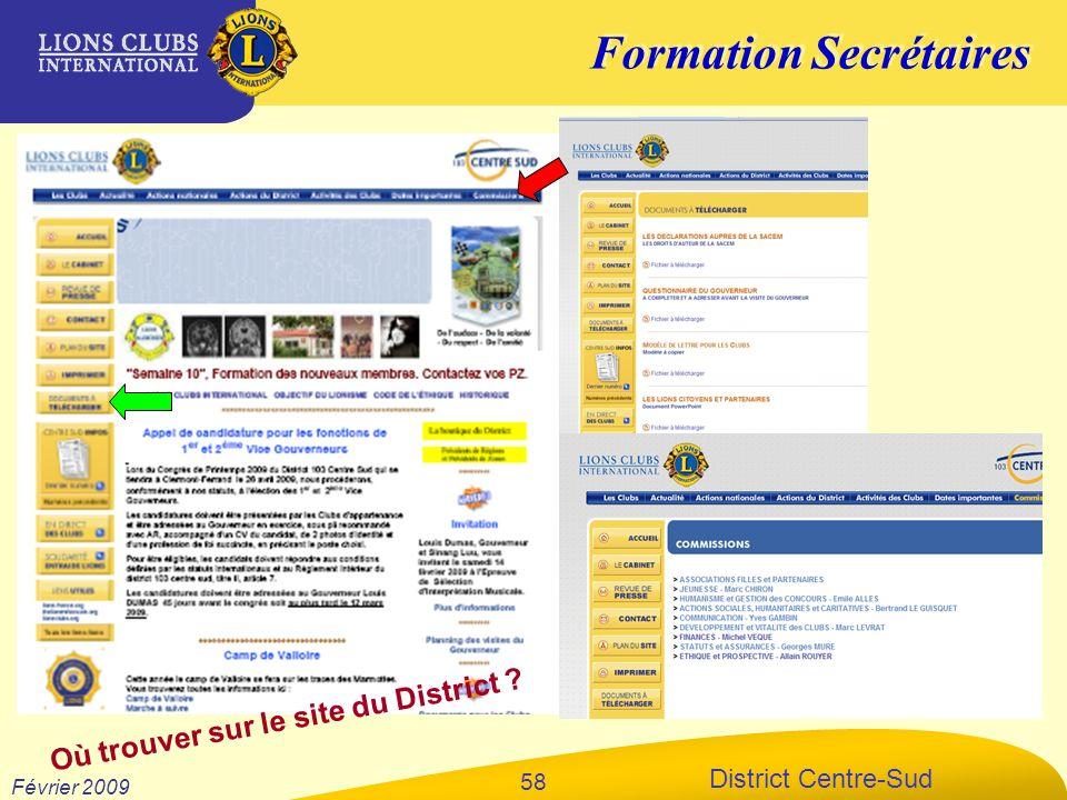 Formation Secrétaires District Centre-Sud Février 2009 58 Où trouver sur le site du District ?