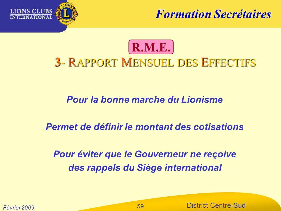 Formation Secrétaires District Centre-Sud Février 2009 59 Pour la bonne marche du Lionisme Permet de définir le montant des cotisations Pour éviter qu