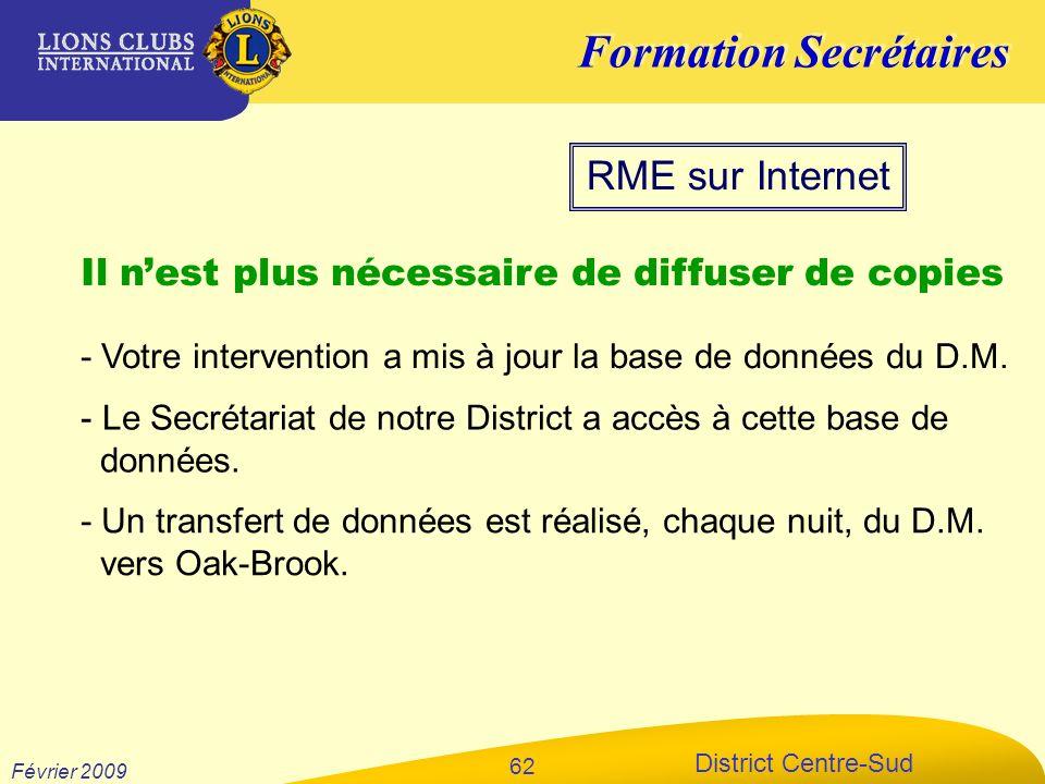 Formation Secrétaires District Centre-Sud Février 2009 62 RME sur Internet Il nest plus nécessaire de diffuser de copies - Votre intervention a mis à