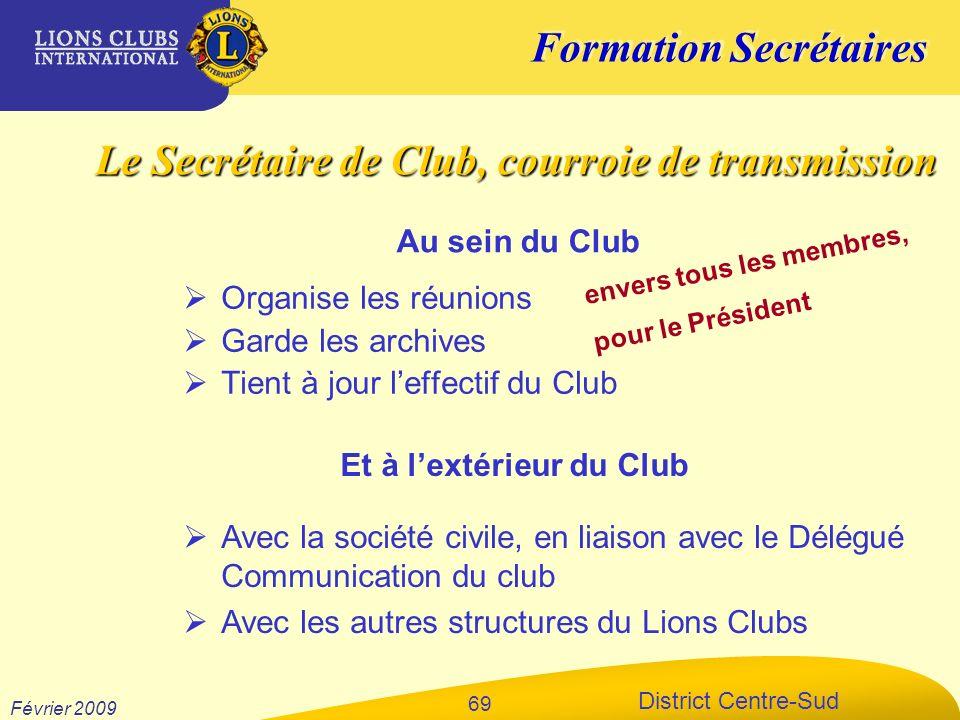 Formation Secrétaires District Centre-Sud Février 2009 69 Organise les réunions Garde les archives Tient à jour leffectif du Club Avec la société civi