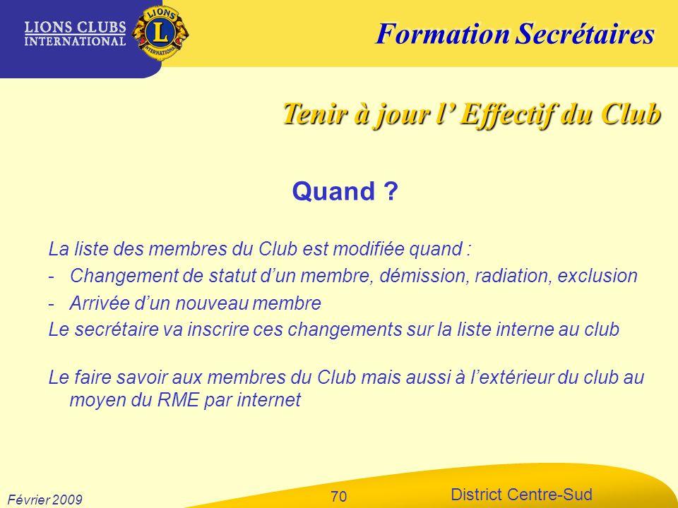 Formation Secrétaires District Centre-Sud Février 2009 70 La liste des membres du Club est modifiée quand : -Changement de statut dun membre, démissio
