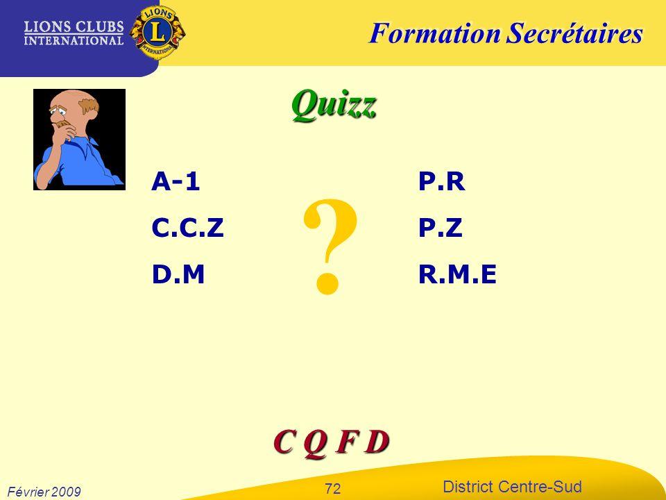 Formation Secrétaires District Centre-Sud Février 2009 72 Quizz A-1 C.C.Z D.M P.R P.Z R.M.E C Q F D ?