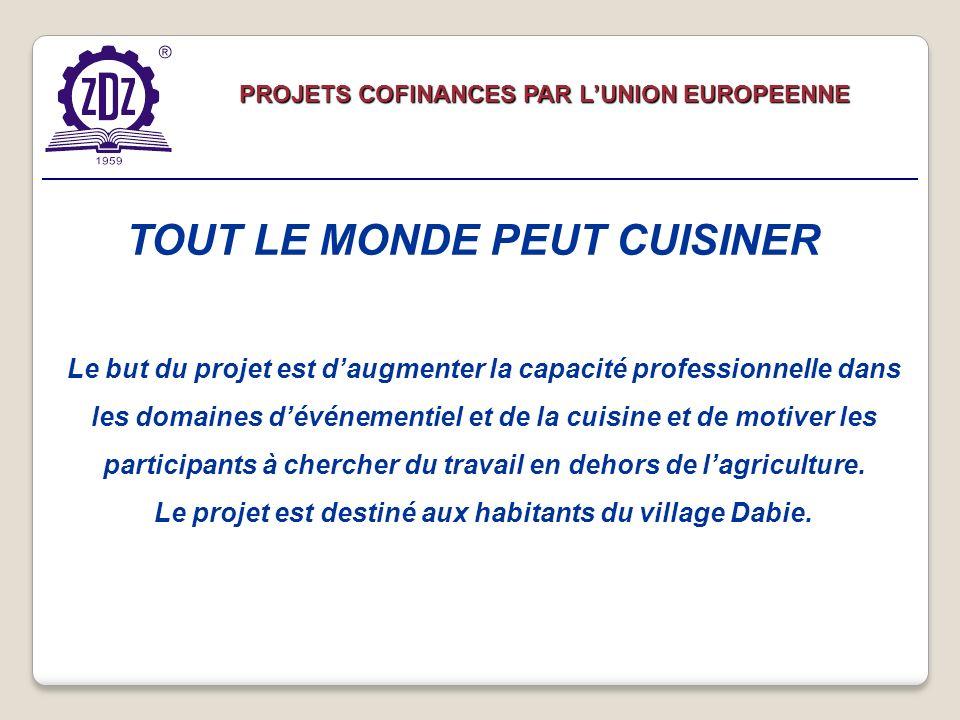 Le but du projet est daugmenter la capacité professionnelle dans les domaines dévénementiel et de la cuisine et de motiver les participants à chercher du travail en dehors de lagriculture.
