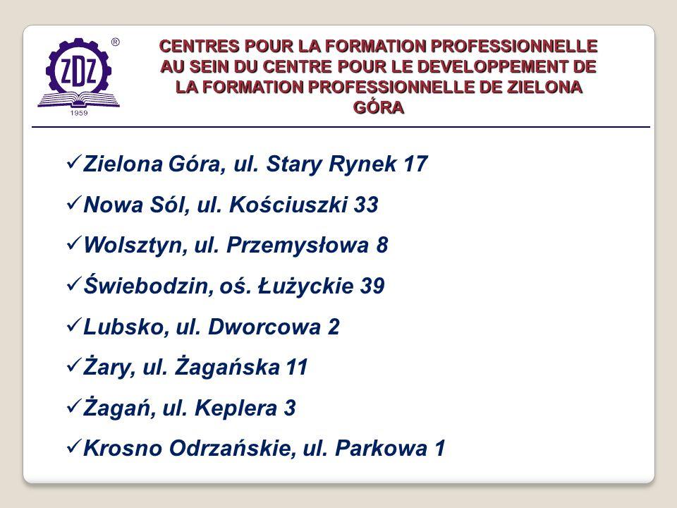 Zielona Góra, ul. Stary Rynek 17 Nowa Sól, ul. Kościuszki 33 Wolsztyn, ul.
