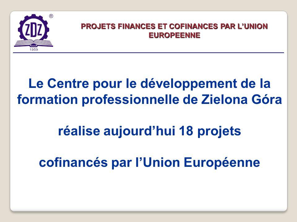 PROJETS FINANCES ET COFINANCES PAR LUNION EUROPEENNE Le Centre pour le développement de la formation professionnelle de Zielona Góra réalise aujourdhui 18 projets cofinancés par lUnion Européenne
