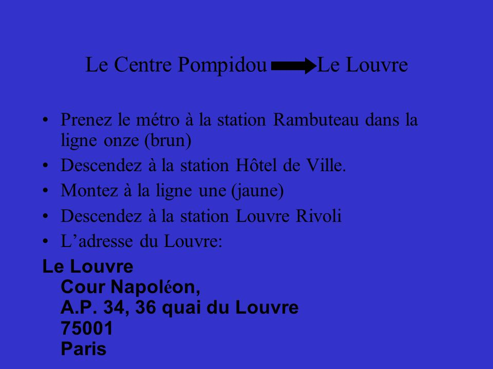 Le Louvre Le Louvre est un musée de lart.Il est dans la rive droite.