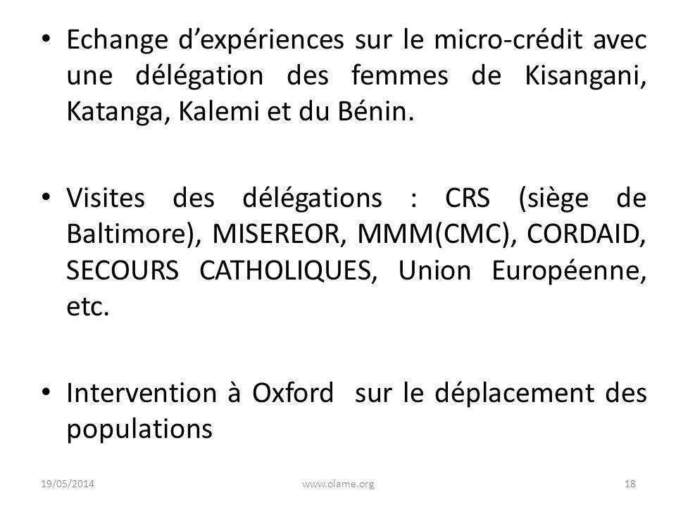 Echange dexpériences sur le micro-crédit avec une délégation des femmes de Kisangani, Katanga, Kalemi et du Bénin. Visites des délégations : CRS (sièg