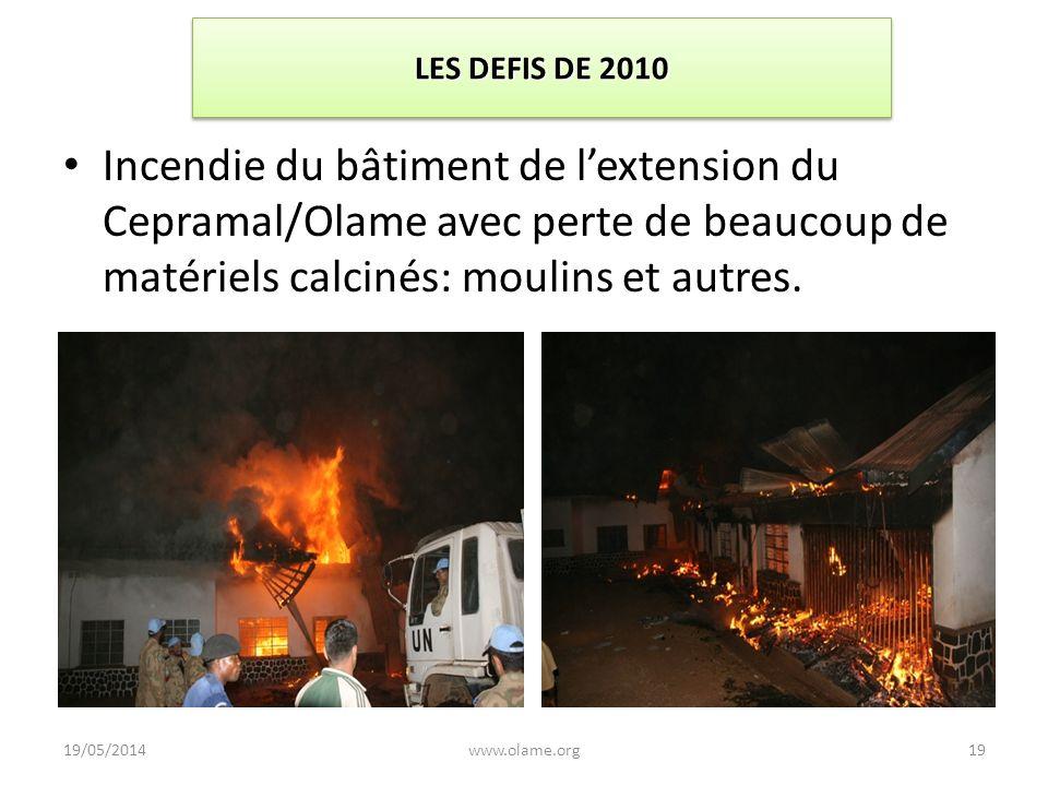 LES DEFIS DE 2010 Incendie du bâtiment de lextension du Cepramal/Olame avec perte de beaucoup de matériels calcinés: moulins et autres. 19/05/2014www.