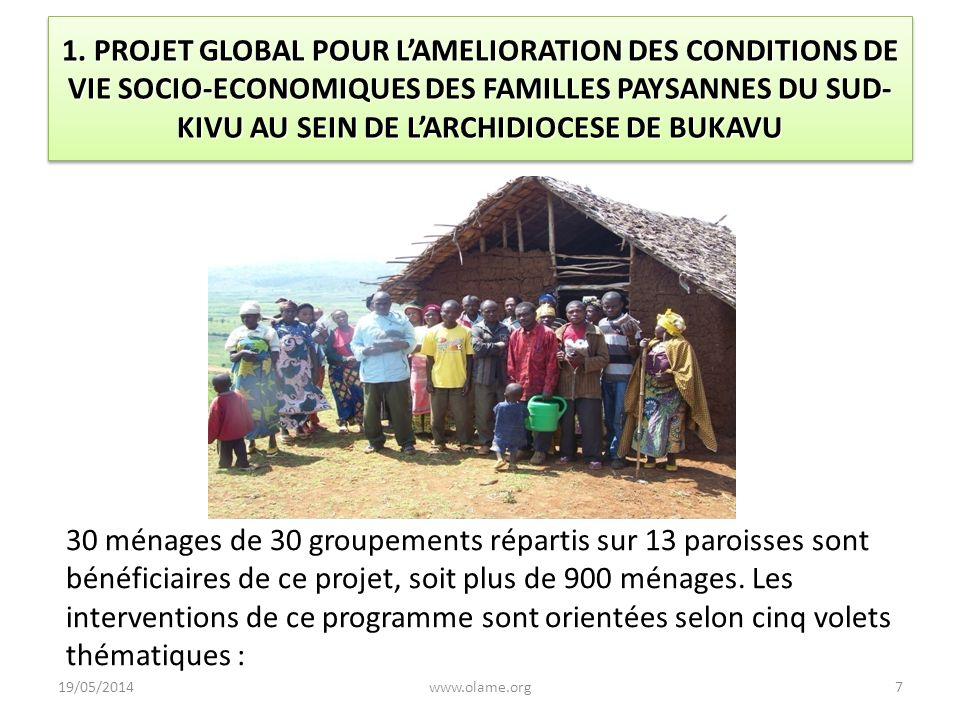 1. PROJET GLOBAL POUR LAMELIORATION DES CONDITIONS DE VIE SOCIO-ECONOMIQUES DES FAMILLES PAYSANNES DU SUD- KIVU AU SEIN DE LARCHIDIOCESE DE BUKAVU 30