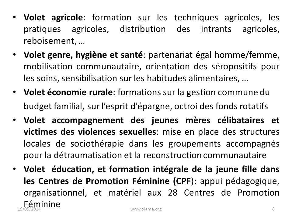 Volet agricole: formation sur les techniques agricoles, les pratiques agricoles, distribution des intrants agricoles, reboisement, … Volet genre, hygi
