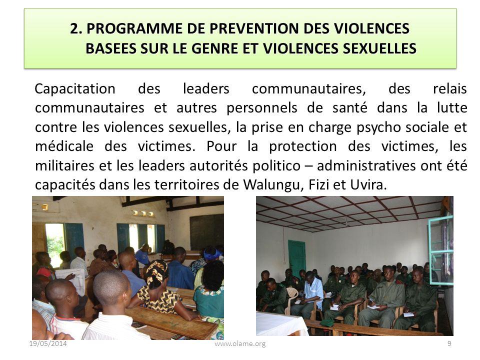 2. PROGRAMME DE PREVENTION DES VIOLENCES BASEES SUR LE GENRE ET VIOLENCES SEXUELLES Capacitation des leaders communautaires, des relais communautaires