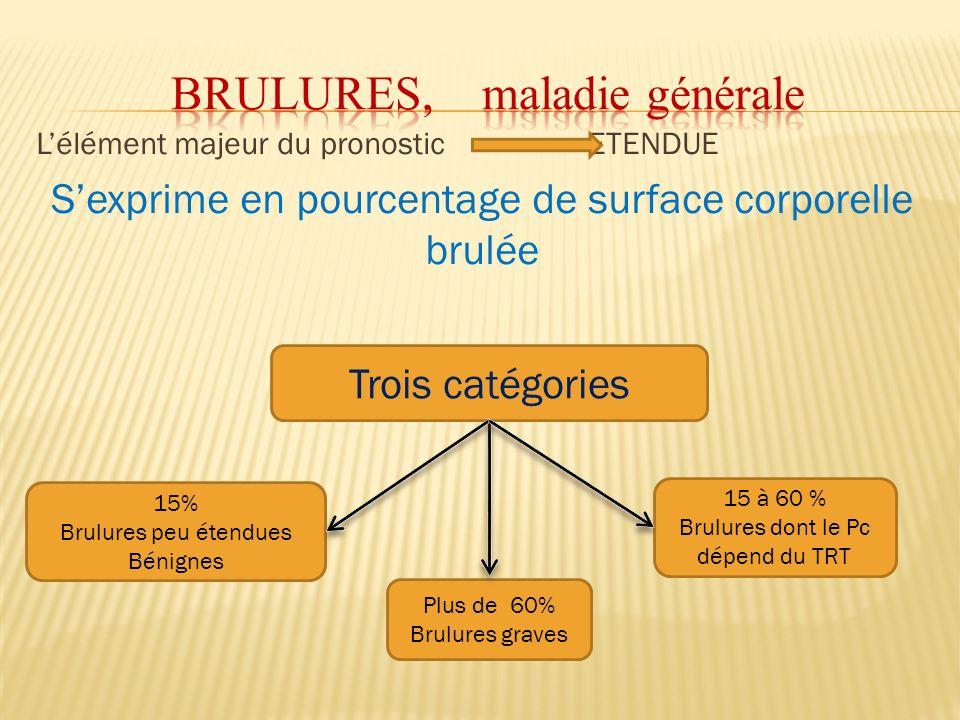 Lélément majeur du pronostic ETENDUE Sexprime en pourcentage de surface corporelle brulée Trois catégories 15% Brulures peu étendues Bénignes Plus de