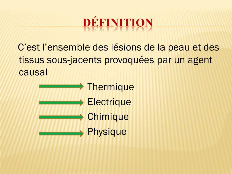 Cest lensemble des lésions de la peau et des tissus sous-jacents provoquées par un agent causal Thermique Electrique Chimique Physique