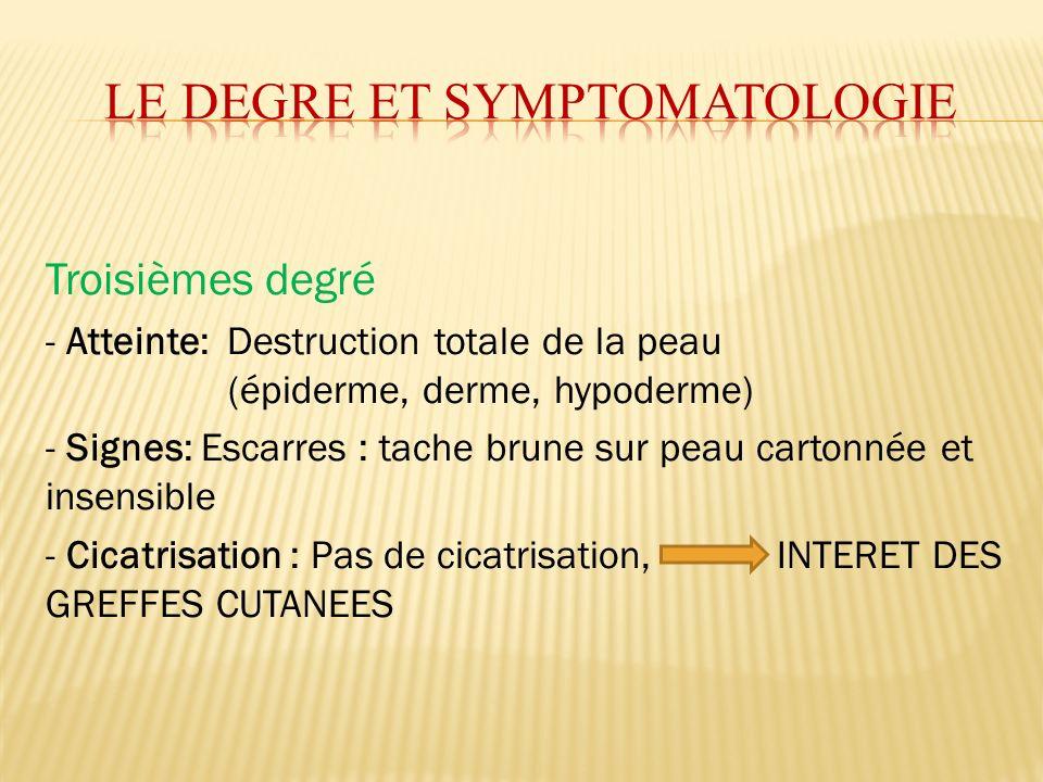 Troisièmes degré - Atteinte: Destruction totale de la peau (épiderme, derme, hypoderme) - Signes: Escarres : tache brune sur peau cartonnée et insensi