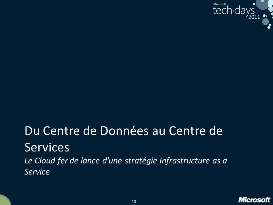 13 Du Centre de Données au Centre de Services Le Cloud fer de lance dune stratégie Infrastructure as a Service