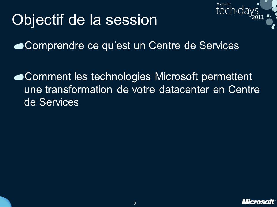 3 Objectif de la session Comprendre ce quest un Centre de Services Comment les technologies Microsoft permettent une transformation de votre datacenter en Centre de Services