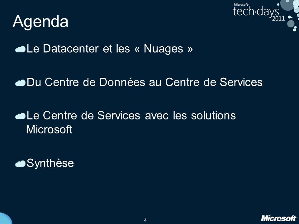 4 Agenda Le Datacenter et les « Nuages » Du Centre de Données au Centre de Services Le Centre de Services avec les solutions Microsoft Synthèse
