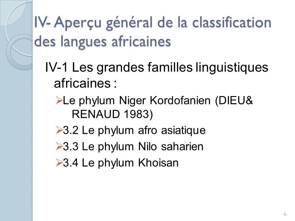 IV- Aperçu général de la classification des langues africaines IV-1 Les grandes familles linguistiques africaines : Le phylum Niger Kordofanien (DIEU& RENAUD 1983) 3.2 Le phylum afro asiatique 3.3 Le phylum Nilo saharien 3.4 Le phylum Khoisan 6