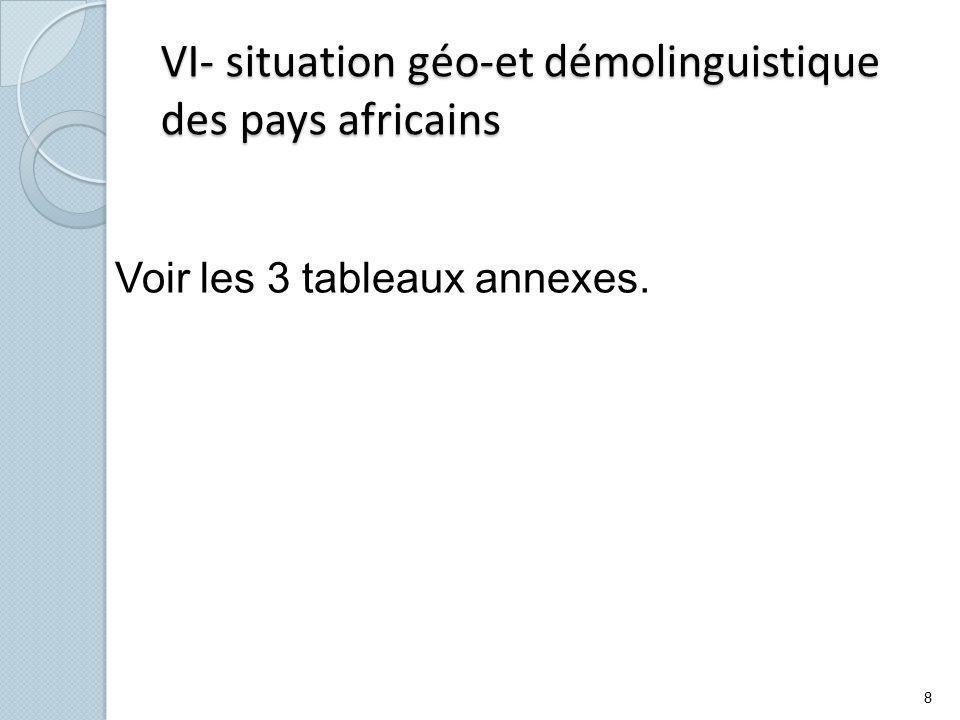VI- situation géo-et démolinguistique des pays africains Voir les 3 tableaux annexes. 8