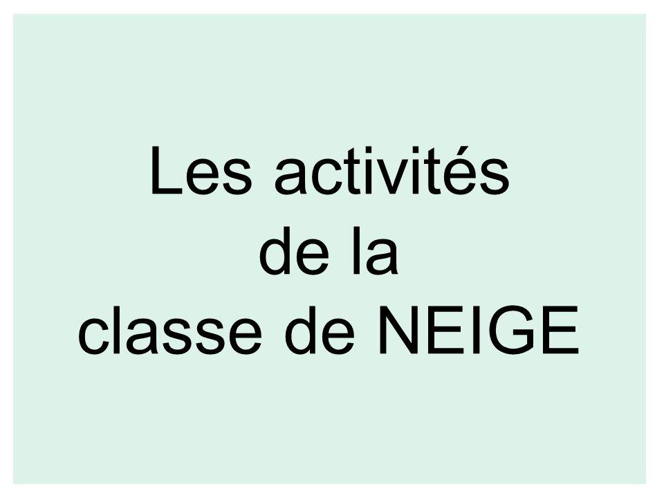 Les activités de la classe de NEIGE