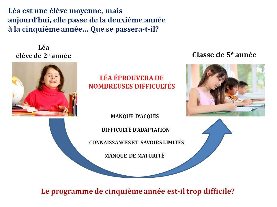 Léa élève de 2 e année Classe de 5 e année Léa est une élève moyenne, mais aujourdhui, elle passe de la deuxième année à la cinquième année… Que se passera-t-il.