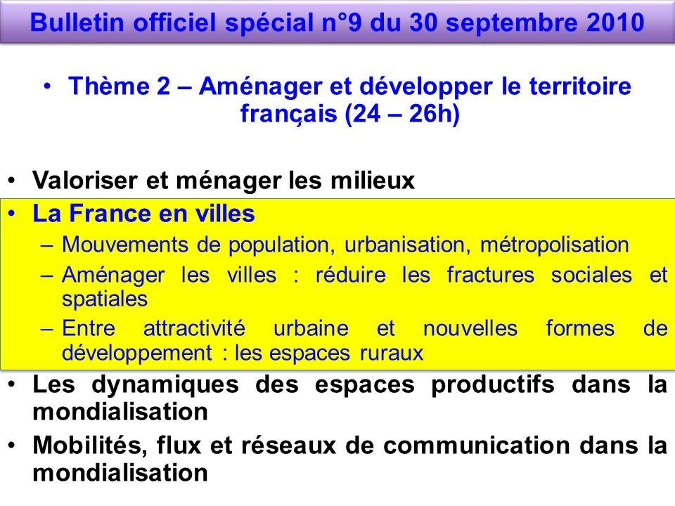 Bulletin officiel spécial n°9 du 30 septembre 2010 Thème 2 – Aménager et développer le territoire franc ̧ ais (24 – 26h) Valoriser et ménager les m