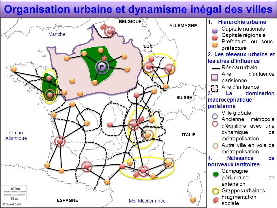 Organisation urbaine et dynamisme inégal des villes 1.Hiérarchie urbaine Capitale nationale Capitale régionale Préfecture ou sous- préfecture 2. Les r