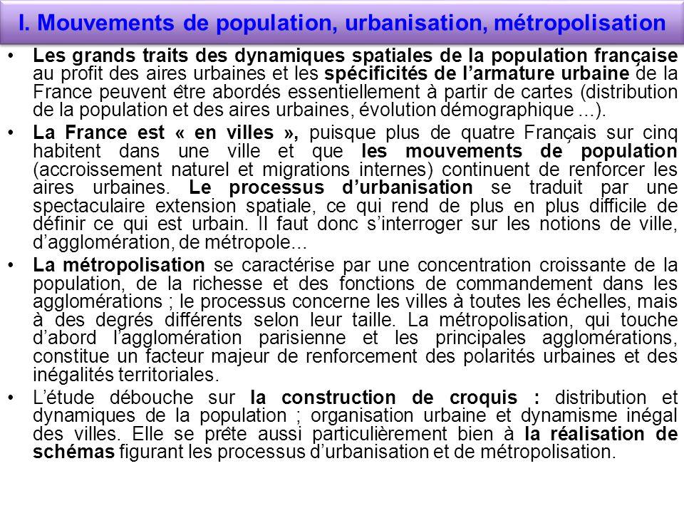 I. Mouvements de population, urbanisation, métropolisation Les grands traits des dynamiques spatiales de la population franc ̧ aise au profit des air