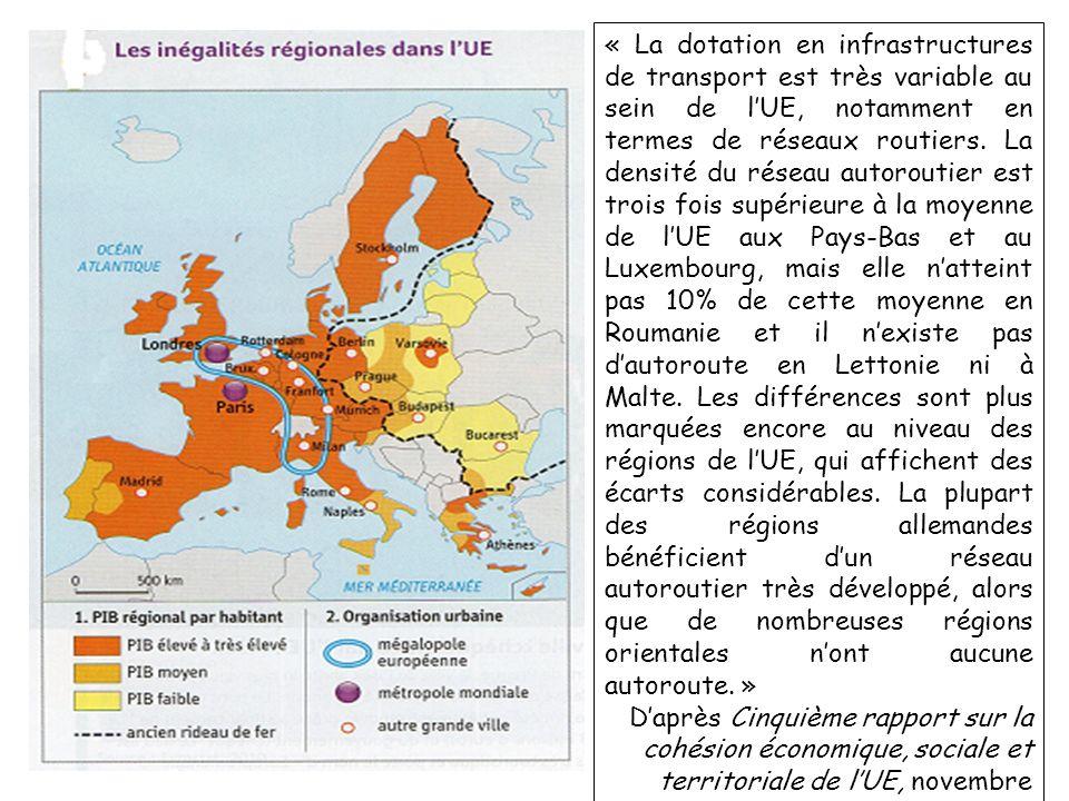 1. Daprès la carte 1, que constatez-vous concernant le PIB des pays à lintérieur de lUE ? 2. O ù se situent les r é gions les plus pauvres de l UE ? C