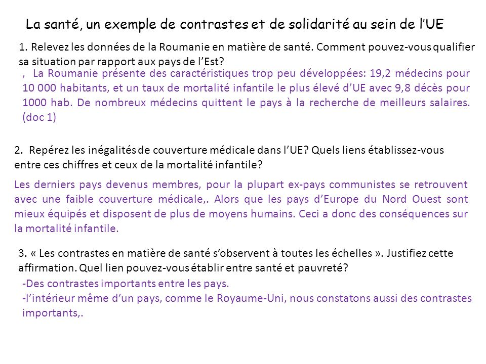 La santé, un exemple de contrastes et de solidarité au sein de lUE 1.