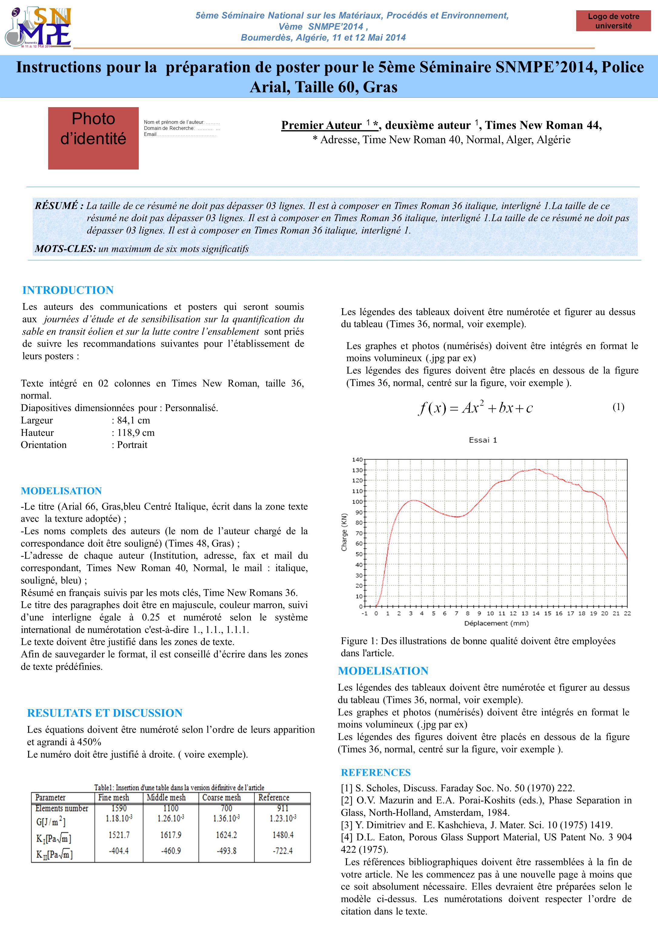 Instructions pour la préparation de poster pour le 5ème Séminaire SNMPE2014, Police Arial, Taille 60, Gras Premier Auteur 1 *, deuxième auteur 1, Time