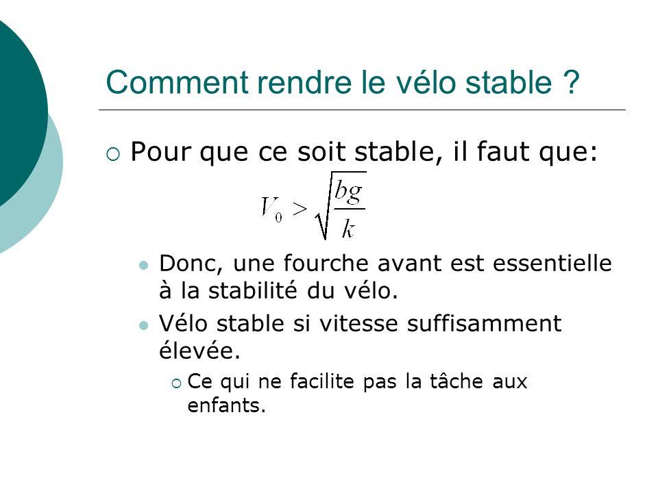 Comment rendre le vélo stable ? Pour que ce soit stable, il faut que: Donc, une fourche avant est essentielle à la stabilité du vélo. Vélo stable si v