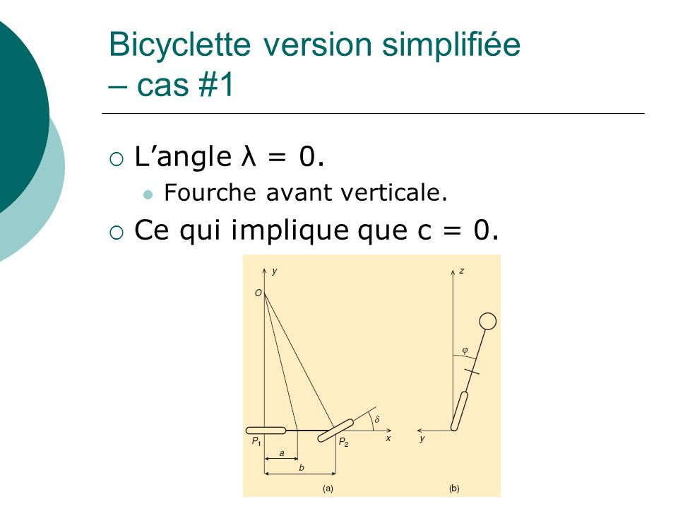 Bicyclette version simplifiée – cas #1 Langle λ = 0.