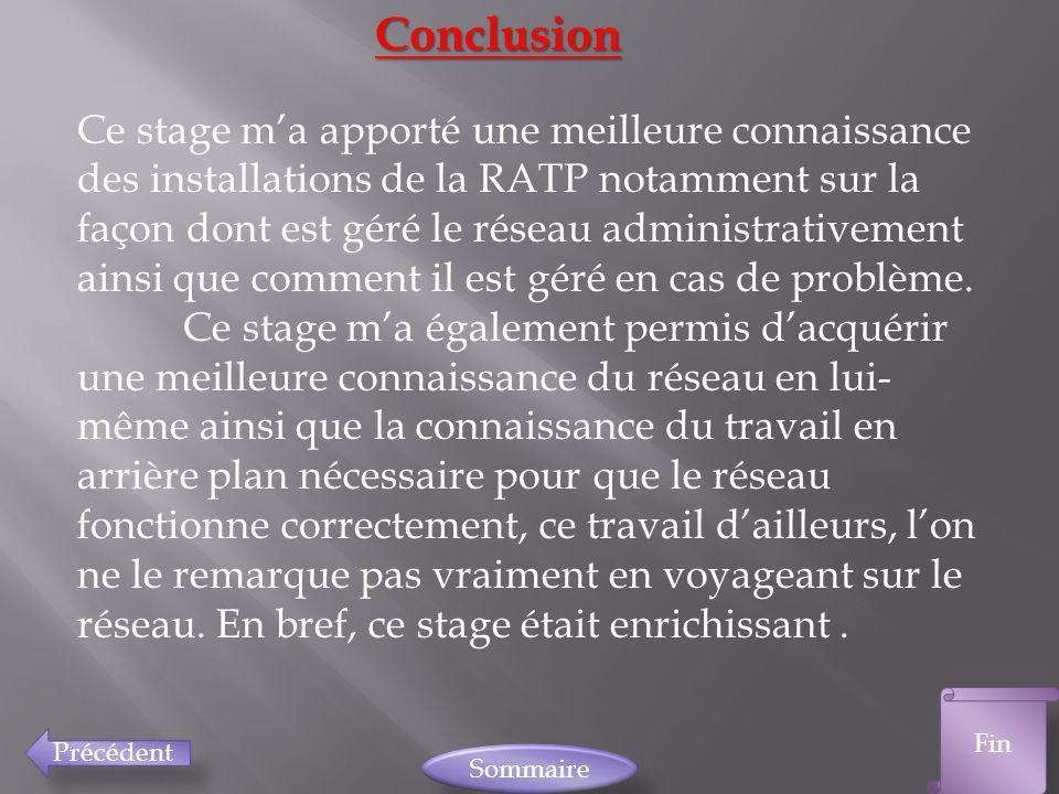Précédent Fin SommaireConclusion Ce stage ma apporté une meilleure connaissance des installations de la RATP notamment sur la façon dont est géré le r