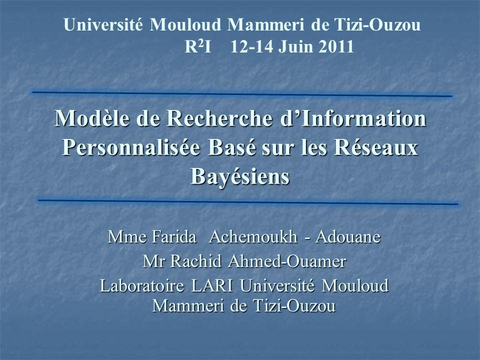 Modèle de Recherche dInformation Personnalisée Basé sur les Réseaux Bayésiens Université Mouloud Mammeri de Tizi-Ouzou R 2 I 12-14 Juin 2011 Mme Farid