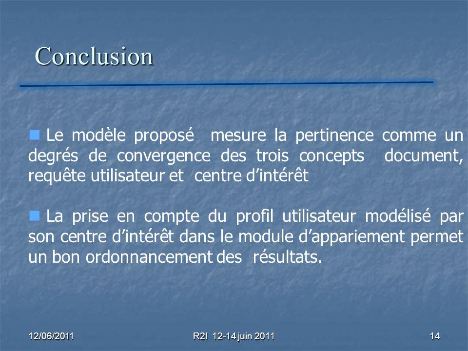 Conclusion Conclusion 12/06/2011R2I 12-14 juin 201114 Le modèle proposé mesure la pertinence comme un degrés de convergence des trois concepts documen