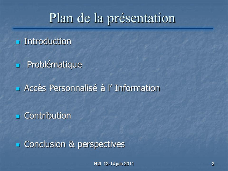 2 Plan de la présentation Introduction Introduction Problématique Problématique Accès Personnalisé à l Information Accès Personnalisé à l Information