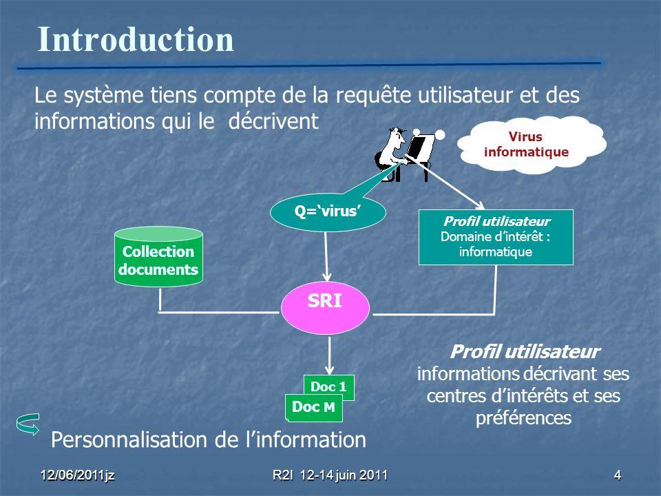 Introduction 12/06/2011R2I 12-14 juin 20114 12/06/2011jz Collection documents Q=virus SRI Le système tiens compte de la requête utilisateur et des inf